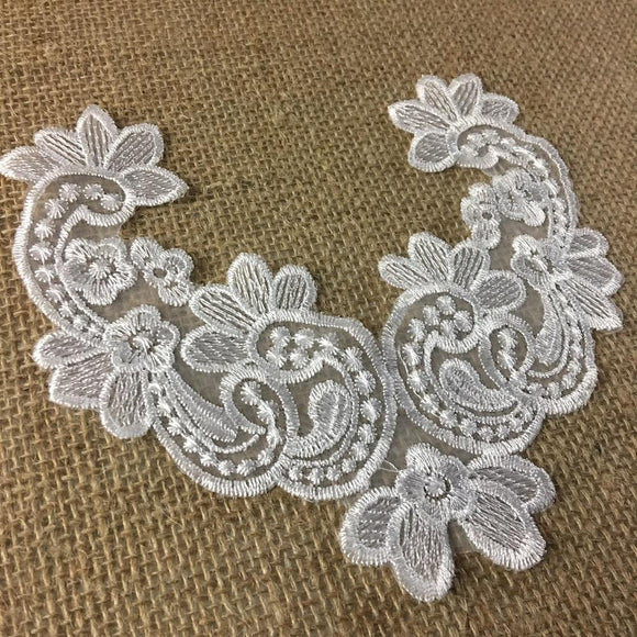 Embroidered Yoke Applique Neckpiece Fancy Floral Curves Design Sheer Organza Motif Patch, 6