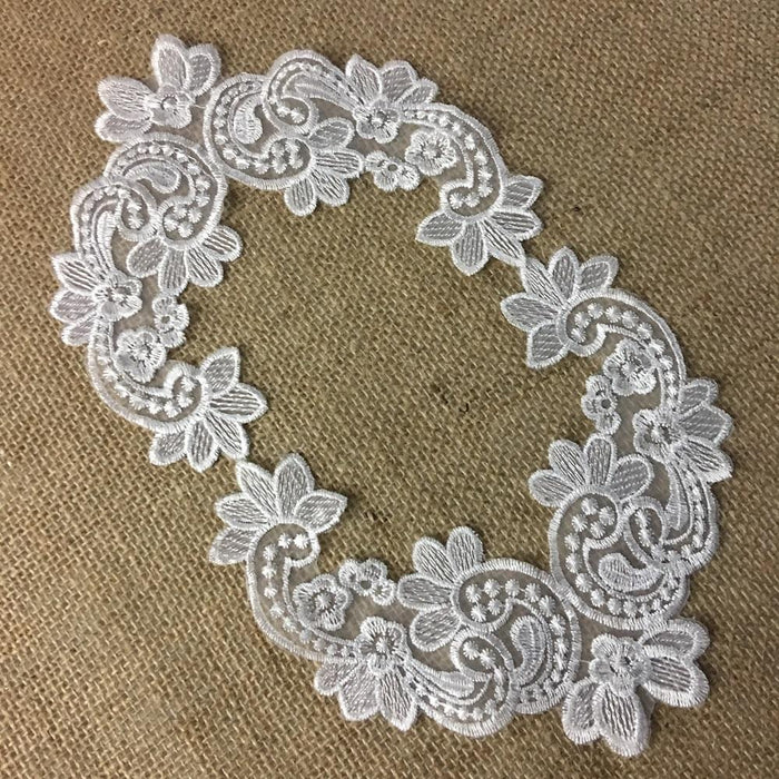 "Embroidered Yoke Applique Neckpiece Fancy Floral Curves Design Sheer Organza Motif Patch, 6""x6"", White, for Garments Bridal Communion Christening"