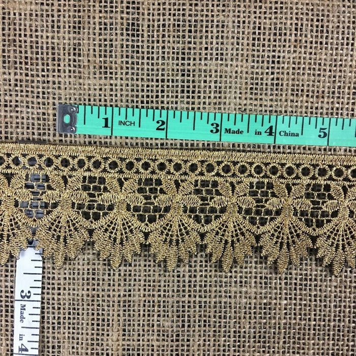 "Metallic Gold Lace Trim Embroidered on Black Ground Sheer Organza, 1.25"" Wide. Multi-Use Garments Gowns Veils Bridal Costume Altar Decoration"