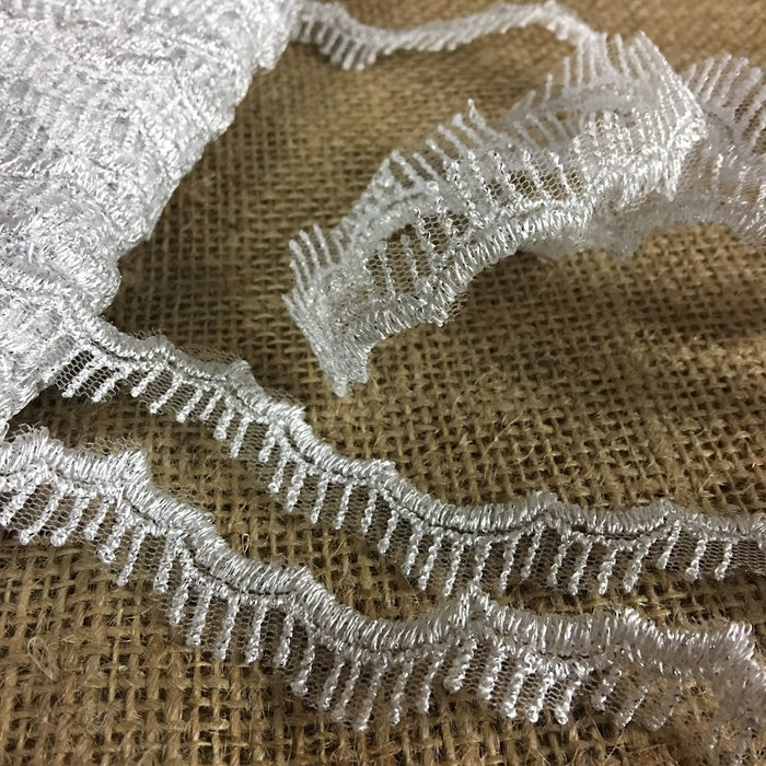 "Scalloped Metallic Silver Trim Eyelash Lace Embroidered on Mesh Ground, 1"" Wide. Multi-Use Garments Gowns Veils Bridal Costume Altar Decoration"