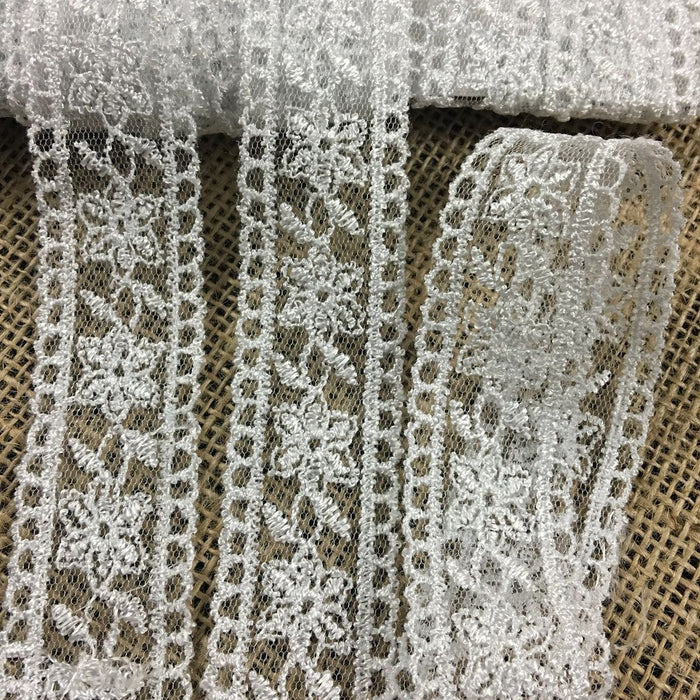"Lace Trim Mesh Embroidered Floral, Double Border Straight Edges 1.25"" Wide, White, Multi-Use Garment Gown Veil Cape Bridal Communion Christening Baptism"