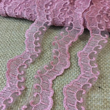 "Lace Trim Scalloped Embroidered Sheer Organza Double Border Simple Beautiful, 1.25"" Wide, Choose Color, Multi-Use Dresses Veils Bridal Costume"