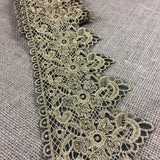 "Metallic Gold Lace Trim Embroidered on Black Ground Sheer Organza, 4.25"" Wide. Multi-Use Garments Gowns Veils Bridal Costume Altar Decoration"