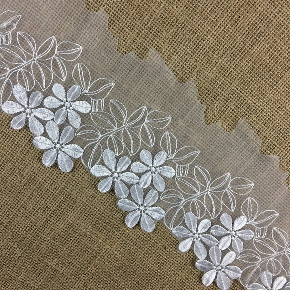 Lace Trim Scalloped Embroidered Big Daisy Sheer Organza, 4