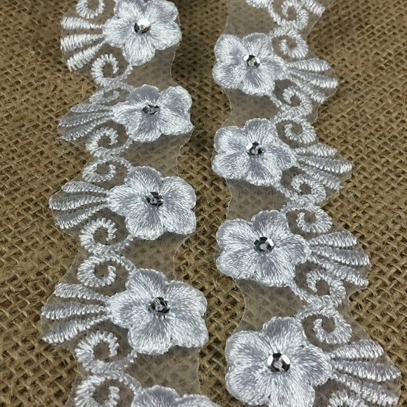 Trim Lace Embroidered & Silver Sequins Double Border Organza Ground, 1.5