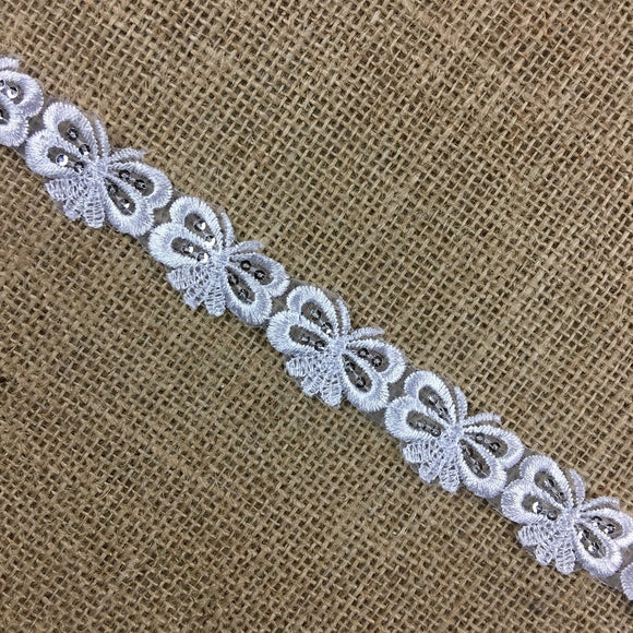 Butterfly Trim Lace Embroidered & Silver Sequins Double Border Organza Ground, 1