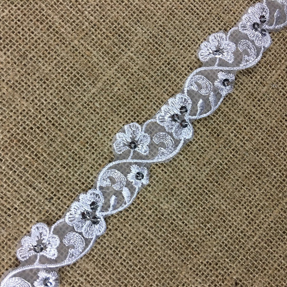 Floral Trim Lace Embroidered & Silver Sequins Double Border Organza Ground, 1.25