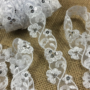 "Floral Trim Lace Embroidered & Silver Sequins Double Border Organza Ground, 1.25"" Wide, White, Multi-use Bridal Veil Communion Christening Baptism Dress Cape"