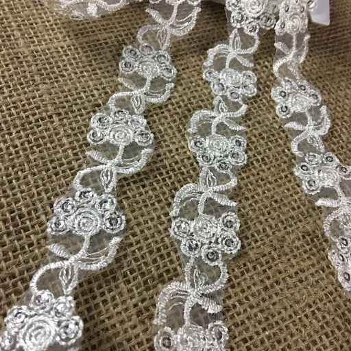 "Trim Lace Embroidered & Silver Sequins Double Border Organza Ground, 1"" Wide, Ivory, Multi-use Bridal Veil Communion Christening Baptism Dress Cape"