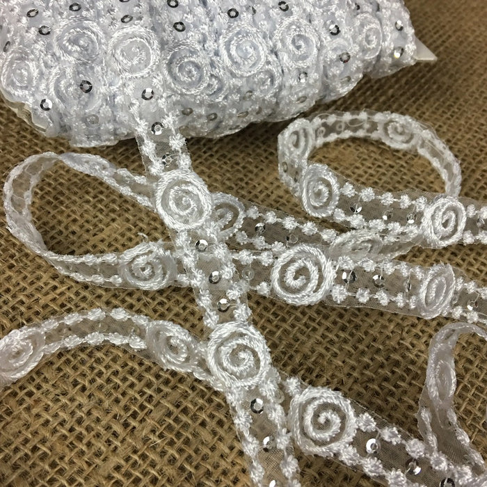 "Trim Lace Embroidered & Silver Sequins dots Double Border Organza Ground, 0.5"" Wide, White, Multi-use Bridal Veil Communion Christening Baptism Dress Cape"