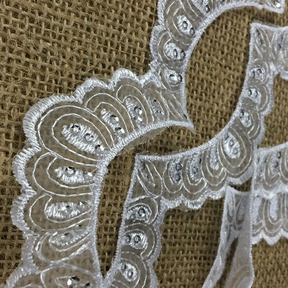 Scallopes Trim Lace Embroidered & Silver Sequins Double Border Organza Ground, 2