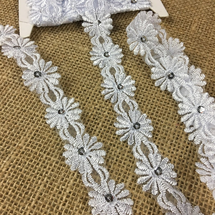 "Trim Lace Embroidered & Silver Sequins Double Border Organza Ground, 1"" Wide, White, Multi-use Bridal Veil Communion Christening Baptism Dress Cape"
