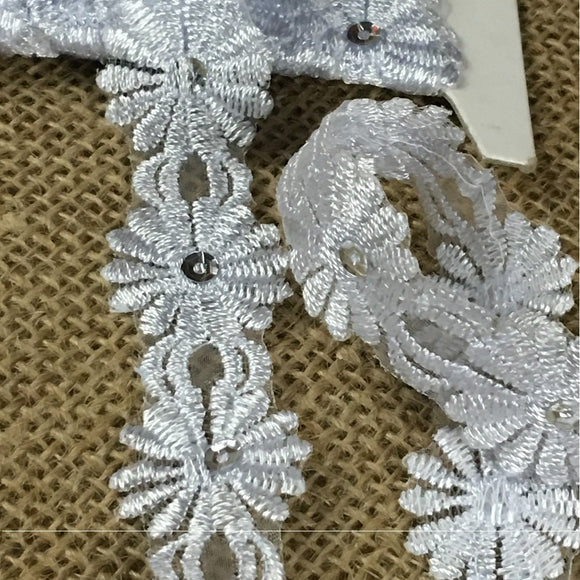 Trim Lace Embroidered & Silver Sequins Double Border Organza Ground, 1