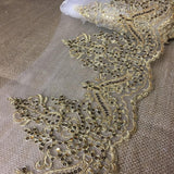 "Bridal Veil Lace Trim Gorgeous Elegant Alencon Embroidered Corded Sequined Mesh, 8"" Wide, Choose Color. For Veil Bridal Wedding Decoration Dresses"