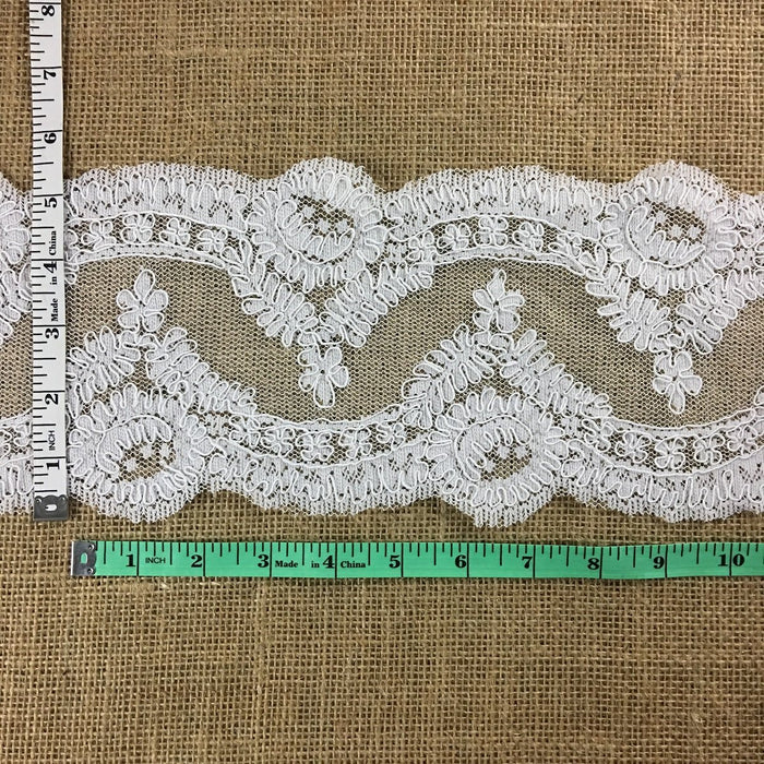 "Bridal French Lace Trim Elegant Embroidered Corded, 5.5"" Wide, White, use for Veil Bridal Wedding Decoration Dresses"