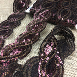 "Sequins Trim Lace Bling Wave, 1.5"" Wide, Choose Color. Multi-Use Garments Decoration Theater & Dance Costume Dolls Scrapbooks"