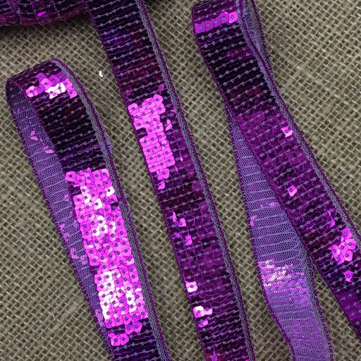 "Sequins Trim Lace Bling, 1"" Wide, Fuchsia. Multi-Use Garments Decoration Theater & Dance Costume Dolls Scrapbooks"