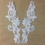 "Bridal Applique Pair Lace Hand Beaded Corded Sequined Embroidered Sheer Organza, 10"" Long, White, Multi-Use Communion Christening Garments Crafts"