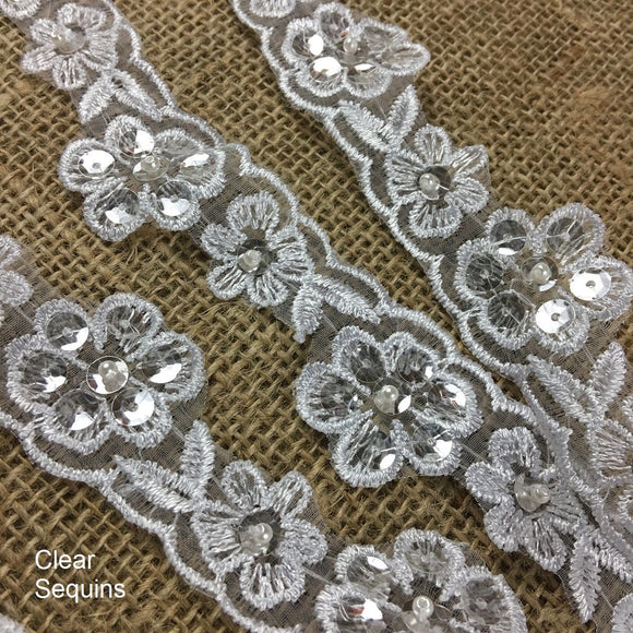 Trim Lace Embroidered + Choose Clear or Silver Sequins on White Organza Ground, 1.25