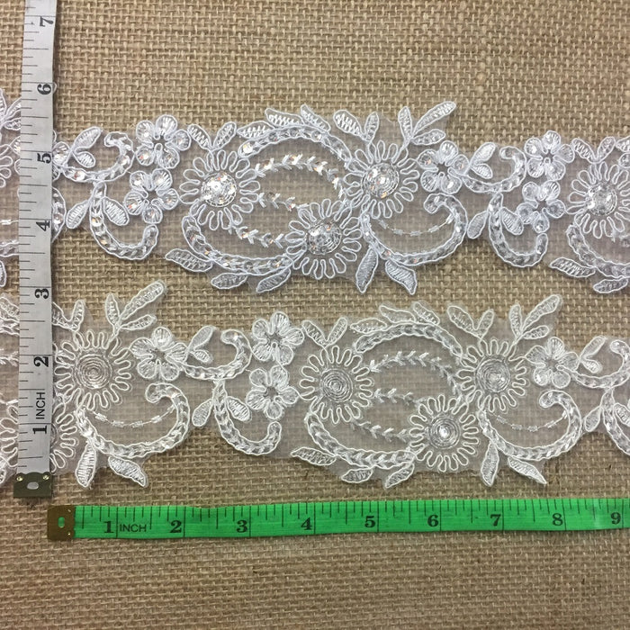 "Bridal Lace Trim Alencon Embroidered Corded Sequined Organza Sash Belt, Beautiful Quality, 3"" Wide, Choose Color. For Veils Wedding Costumes Crafts"