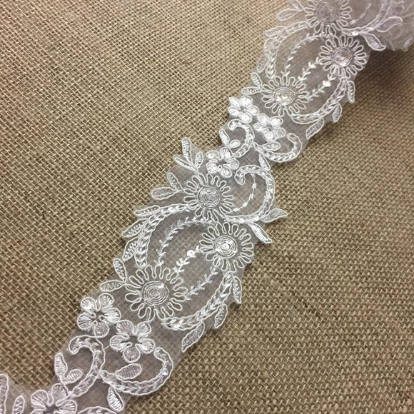Bridal Lace Trim Alencon Embroidered Corded Sequined Organza, Beautiful Quality, 3