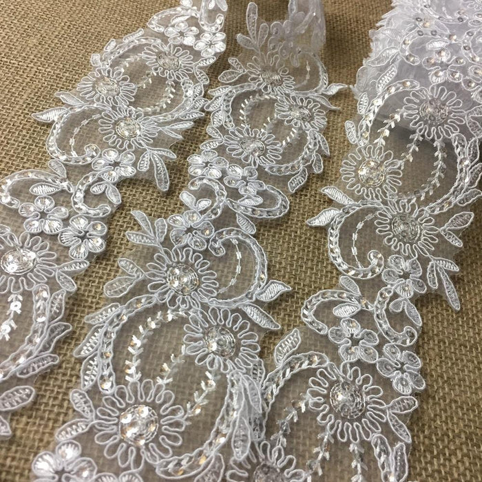 "Bridal Lace Trim Alencon Embroidered Corded Sequined Organza, Beautiful Quality, 3"" Wide, Choose Color. For Veils Wedding Costumes Crafts"