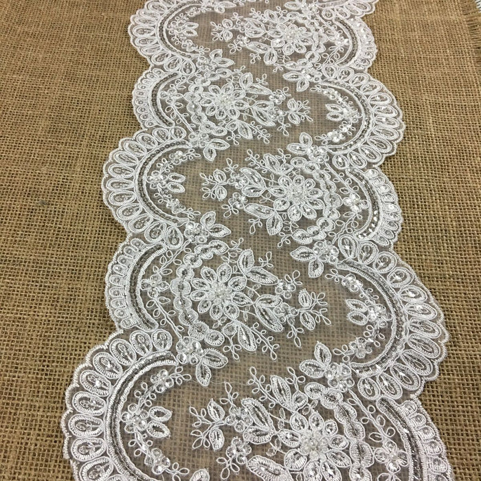 "Bridal Lace Trim Alencon Embroidered Corded Sequined Mesh Ground, Beautiful Quality, 7.75"" Wide, White. For Veils Wedding Costume Craft Decor"