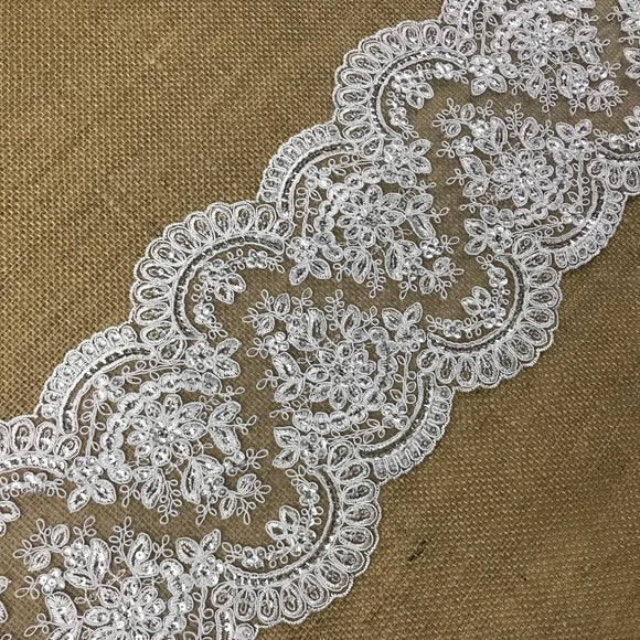 Bridal Lace Trim Alencon Embroidered Corded Sequined Mesh Ground,7.75