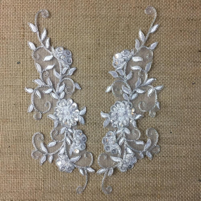 "Bridal Applique Pair Hand Beaded Sequined Embroidered Sheer Organza, 10"" Long, White with Silver Cording, Multi-Use Bridal Communion Christening"