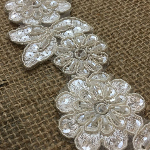 "Bridal Lace Trim Alencon Embroidered Corded Sequined Organza Beautiful Floral, 1.5"" Wide, Choose Color. Multi-Use Veils Wedding Costumes Craft"