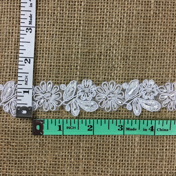 "Bridal Lace Trim Alencon Embroidered Corded Sequined Organza Beautiful Floral, 1.25"" Wide, Choose Color. Multi-Use Veils Wedding Costumes Craft"
