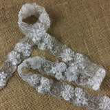"Bridal Lace Trim Alencon Embroidered Corded Sequined Organza Beautiful Floral, 1.5"" Wide, White, Multi-Use Veils Wedding Costumes Craft"
