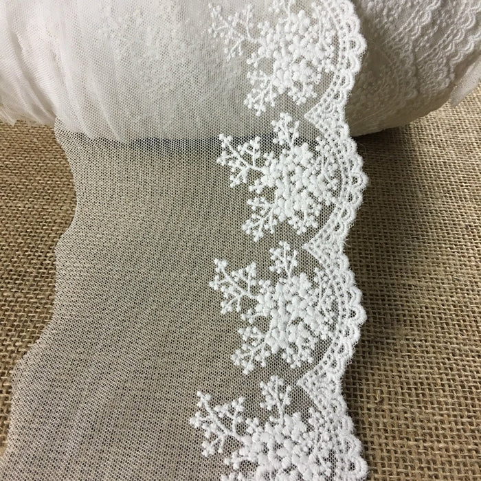 "Trim Lace Embroidered Mesh Scalloped Border, 3-5"" Wide, Off White, Multi-Use Garments Gowns Veils Costumes Slip Extender, DIY Sewing, Decoration"