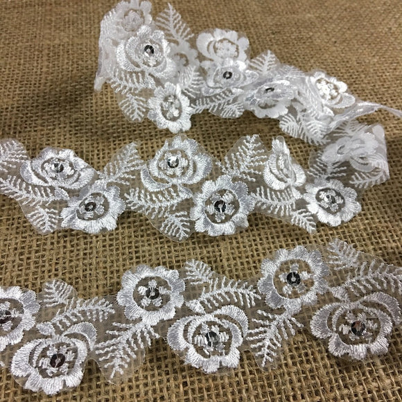 Floral Trim Lace Embroidered & Silver Sequins Double Border Organza Ground, 1.75