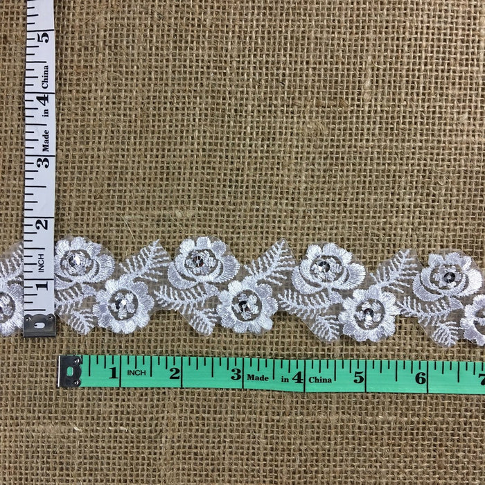 "Floral Trim Lace Embroidered & Silver Sequins Double Border Organza Ground, 1.75"" Wide, White, Multi-use Bridal Veil Communion Christening Baptism Dress Cape"