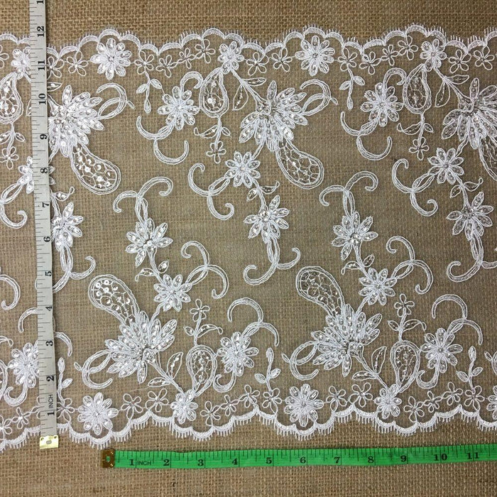 "Bridal Lace Trim Gorgeous Elegant Alencon Embroidered Corded Sequined Mesh, 12"" Wide, White, Multi-Use Weddings Decoration Table Runner Dresses"