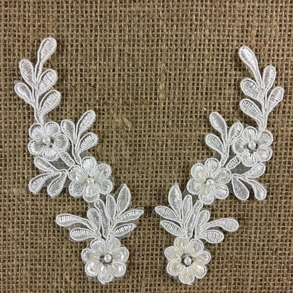 Bridal Applique Pair Lace Hand Beaded Corded Sequined Embroidered Sheer Organza, 5