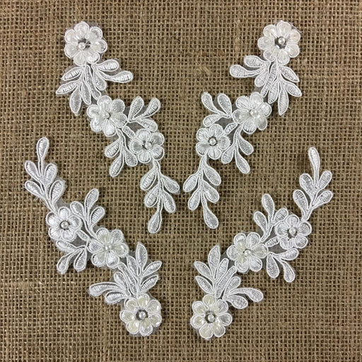"Bridal Applique Pair Lace Hand Beaded Corded Sequined Embroidered Sheer Organza, 5"" Long, Choose Color, Multi-Use Garments Communion Christening Crafts"