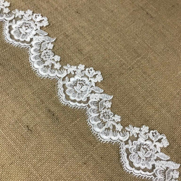Bridal Lace Trim Alencon Embroidered Corded Mesh Net, Beautiful Quality, 3
