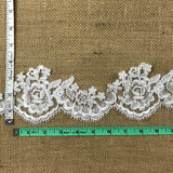 "Bridal Lace Trim Alencon Embroidered Corded Mesh Net, Beautiful Quality, 3"" Wide, Choose Color. For Veils Wedding Costumes Crafts"