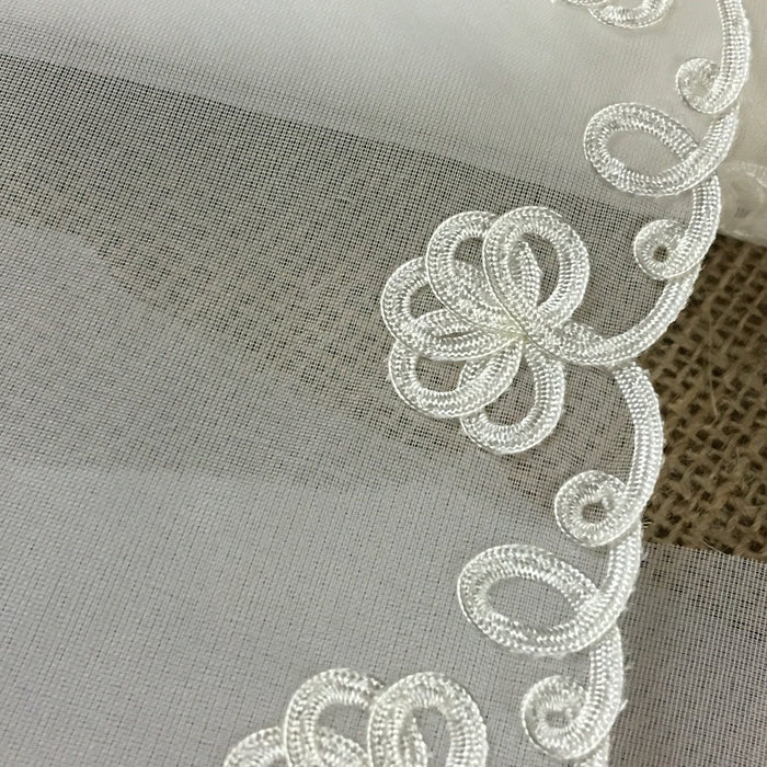 "Lace Trim Soutache Floral Design on Firm Tricot Ground, 1.5""-6"" Wide, Ivory, Multi-Use Garment Gown Tutu Bridal Communion Christening Costumes Curtains"