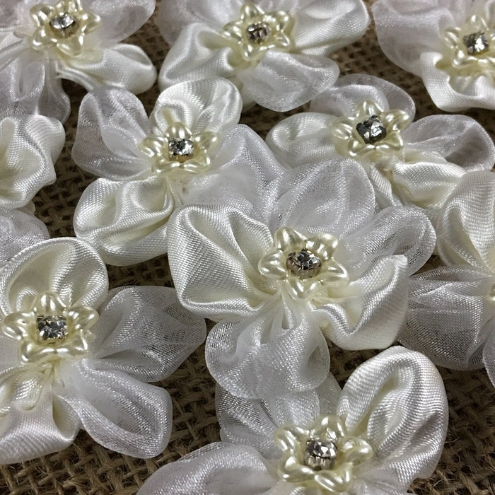 "Satin Flower beaded Applique Satin & Mirror Organza Motif Piece, 1.75""x1.75"", Choose Color, Multi-use Garment Decoration Bridal Communion Christening"