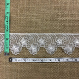 "Lace Trim Floral Embroidered Sheer Organza, 2.5"""" Wide, Off White, Multi-Use Garments Gowns Veils Bridal Communion Christening Costumes Curtains"