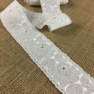 "Eyelet Trim Lace Embroidered Beautiful Detailed Floral Design, 2"" Wide, White, Multi-use Garment Bridal Communion Christening Costume Decoration"