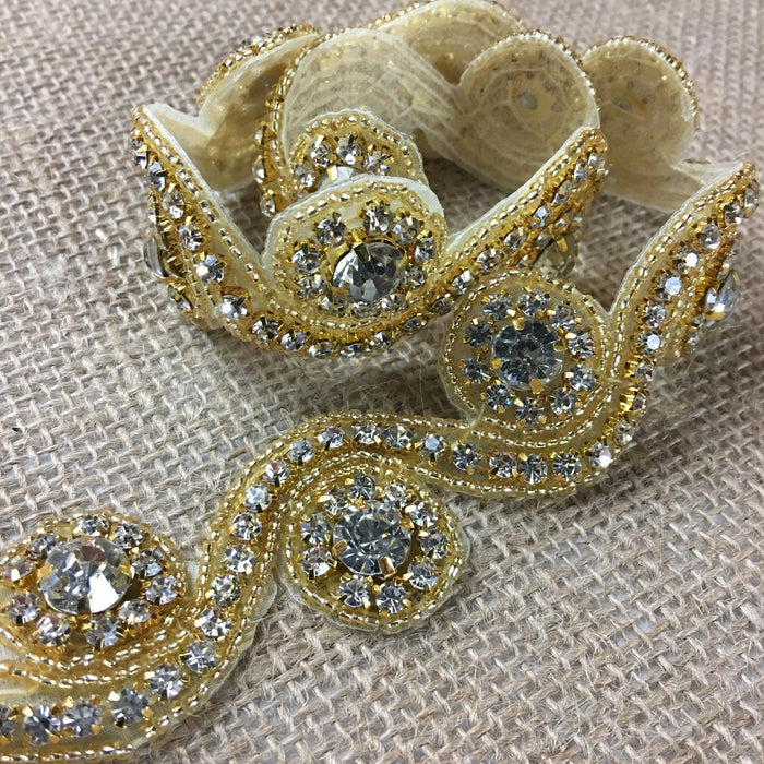 "Rhinestone Bling Trim Crystal Cup Chain Sew or Hot Glue Gun or Fabric Glue, 1.25"" Wide, Choose Color. Multi-Use Dress Bridal Sash Crafts Jewelry"
