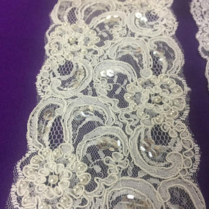 "Chantilly Lace Trim Alencon Corded Hand Beaded Sequined French Couture Gorgeous Elegant, 3"" Wide, Choose Color, For Bridal Costumes Crafts Decoration"