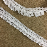 "Ruffled Eyelet Combination & Cluny Lace & Satin Ribbon Trim, 1.5"" Wide, White, Multi-use Garment Children Bridal Decoration Communion Christening"