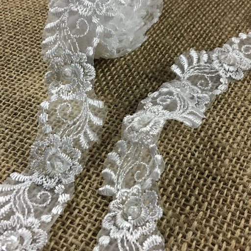 "Bridal Lace Trim Embroidered Hand Beaded Organza Floral Design, 1.5"" Wide, White. For Garments Children Communion Christening Baptism Cape Quinceanera"