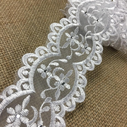 "Bridal Trim Lace Corded Rhinestoned Embroidered Organza Rhinestone Double Border, 1.25"" Wide, White, Multi-Use Garments Communion Christening Sash Belt Veils Wedding"