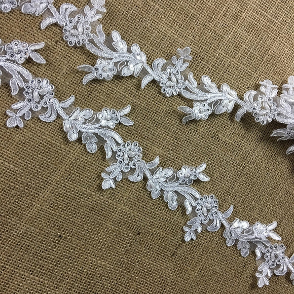 Bridal Lace Trim Embroidered Hand Beaded Corded Sequined Organza Beautiful Rose Floral, 1.25